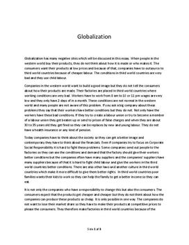 globalization and everyday life essay Globalization and mass media everyone's life is influenced by everyone else globalism and international tourism and travel many old ages ago the bulk of people traveled of necessity and non diversion because of the related disbursal fuss and danger involved.
