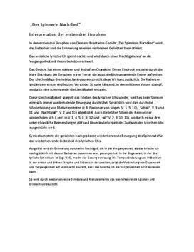 Interpretation Der Spinnerin Nachtlied von Clemens Brentanos
