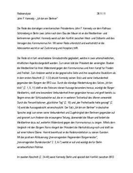 Redeanalyse JFK – Ich bin ein Berliner
