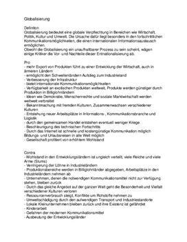 """Globalisierung """"Vorteile und Nachteile"""" Geographie"""