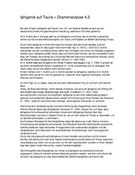 Iphigenie Auf Tauris Szenenanalyse 42 Schulhilfede
