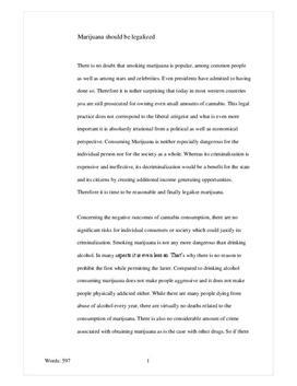 Essay on legalization of marijuhana
