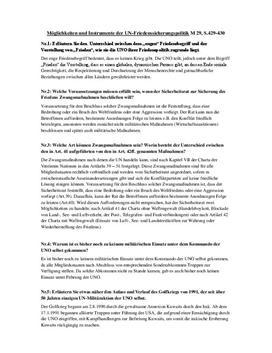 Möglichkeiten und Instrumente der UN-Friedenssicherungspolitik