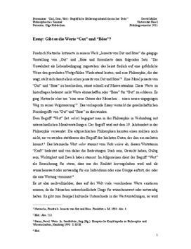 """Essay: Gibt es die Werte """"Gut"""" und """"Böse""""?"""