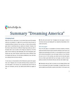 Summary Dreaming America - Abitur 2009 - Goldnotizen