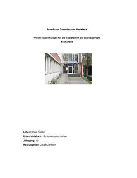 Verflechtung von Sozialrecht und Sozialpolitik Facharbeit
