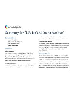 Summary of Life isn't All ha ha hee hee - Englisch GK - Seite 1