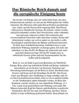 """""""Das Römische Reich und Europa heute"""" Vergleich"""