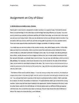 City of Glass Analyse und Charakterisierung