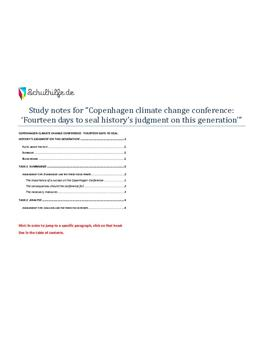 Copenhagen climate change - abitur 2010 - Summary