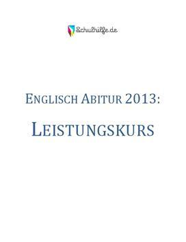Englisch Leistungskurs Abitur 2013
