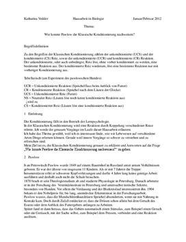 Pawlow und die klassische Konditionierung Biologie