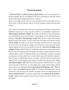 My Son the Fanatic by Hanif Kureishi - Essay Example