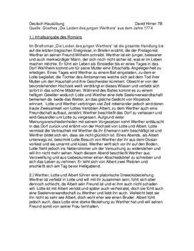 Johann Wolfgang von Goethe - Die Leiden des jungen Werthers- Zusammenfassung