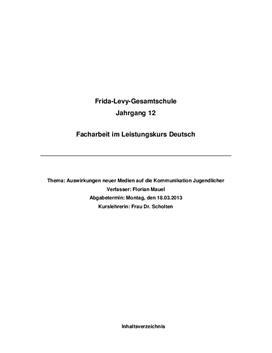 Deutsch Facharbeit Sprachgebrauch Jugendlicher