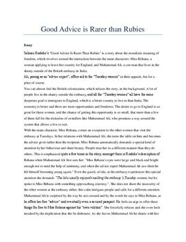 "Analysis of ""Good Advice is rarer than Rubies"""