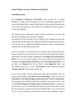 Johann Gedichtsinterpretation Wolfgang von Goethe, Willkommen und Abschiede