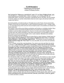 Gedichtsanalyse Willkommen und Abschied von Goehte