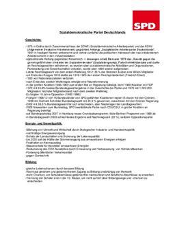 Handout zu einem Referat über die SPD