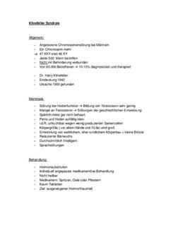 Referat über das Klinefelter- und Turner-Syndrom
