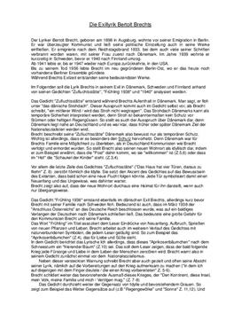 Analyse der Exillyrik von Bertolt Brecht