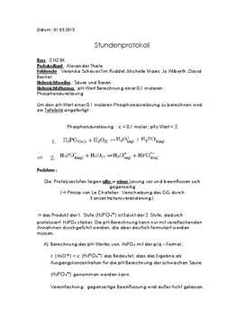 Klausurvorbereitung: pH-Wert Berechnung einer 0,1 molaren Phosphorsäurelösung