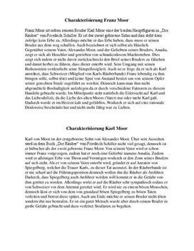 Charakterisierung der Moorbrüder - Franz Moor, Karl Moor