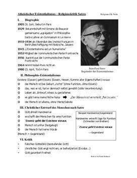 Referat über Sartre - Atheistischer Existentialismus