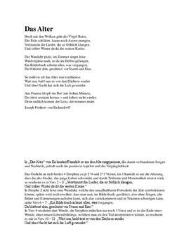 Analyse Von Eichendorffs Gedicht Das Alter Schulhilfede