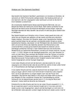 """Gedichtanalyse zu """"Der Spinnerin Nachtlied"""" von Clemens Brentano"""