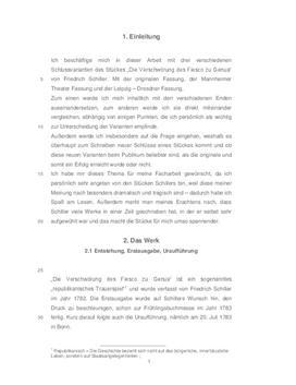 """Analyse von """"Die Verschwörung des Fiesco zu Genua"""" von Friedrich Schiller"""
