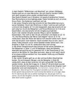 Gedichtanalyse Zu Willkommen Und Abschied Von Goethe Schulhilfe De