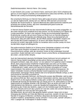 Gedichtanalyse Und Interpretation Die Loreley Von Heine