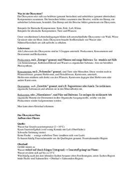 Klausurvorbereitung - Ökosystem