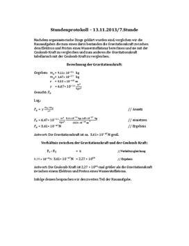 Facharbeit - Protokoll zu den Themen Gravitation und Coulombkraft