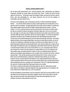 Zusammenfassung/Inhaltsangabe und Analyse zu Schönes goldenes Haar