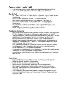 Klausurvorbereitung - Deutschland nach 1945