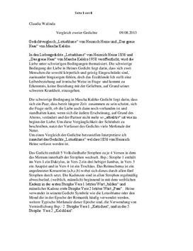 Vergleich, Gedichtanalyse und Interpretation von Lotusblume und Das graue Haar