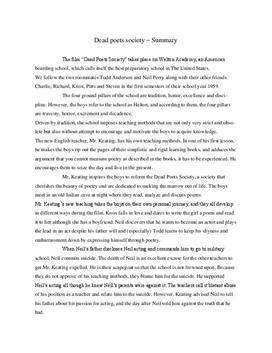 Dead Poets Society Inhaltsangabe und Analyse