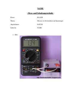 Facharbeit über Messtechnik und Schaltungstechnik