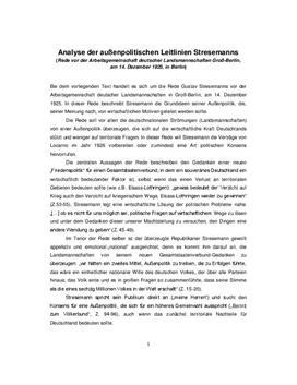 Quellenanalyse: Stresemann Rede - außenpolitische Leitlinien