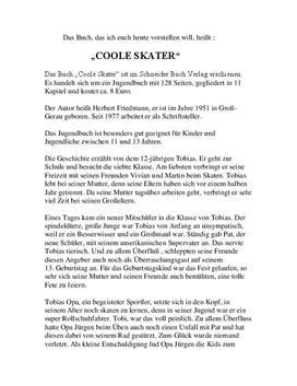 inhaltsangabe zusammenfassung ber coole skater