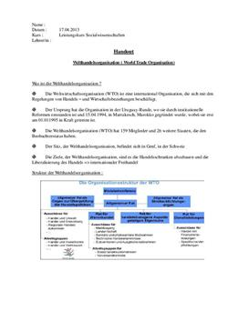 Referat über die Welthandelsorganisation - WTO