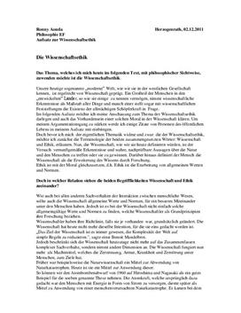 Referat über Wissenschaftsethik - Wissenschaft und Verantwortung