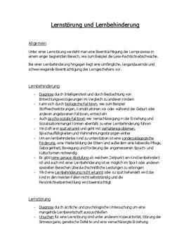 Referat über Lernstörungen und Lernbehinderungen