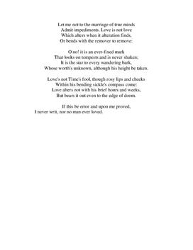 """copmaring shakespeares sonnets 116 and 147 """"sonnet 116"""" is a poem frequently read aloud at wedding ceremonies it is easy to see why, as the sonnet alludes to the marriage vows shakespeare personifies love to show that it is the unwavering force that holds a marriage together."""