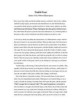 Sonnet 18 Analyse Und Interpretation In Englisch Schulhilfede