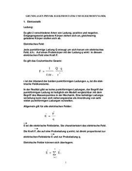 Facharbeit - Elektrostatik & Elektrodynamik