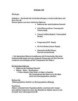 Klausurvorbereitung - das Ökosystem
