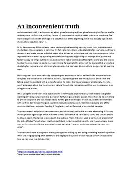 an inconvenient truth analytical essay Al gore states that in his documentary film an inconvenient truth he was only voicing his concerns for strictly moral and ethical reasons containing global warming.